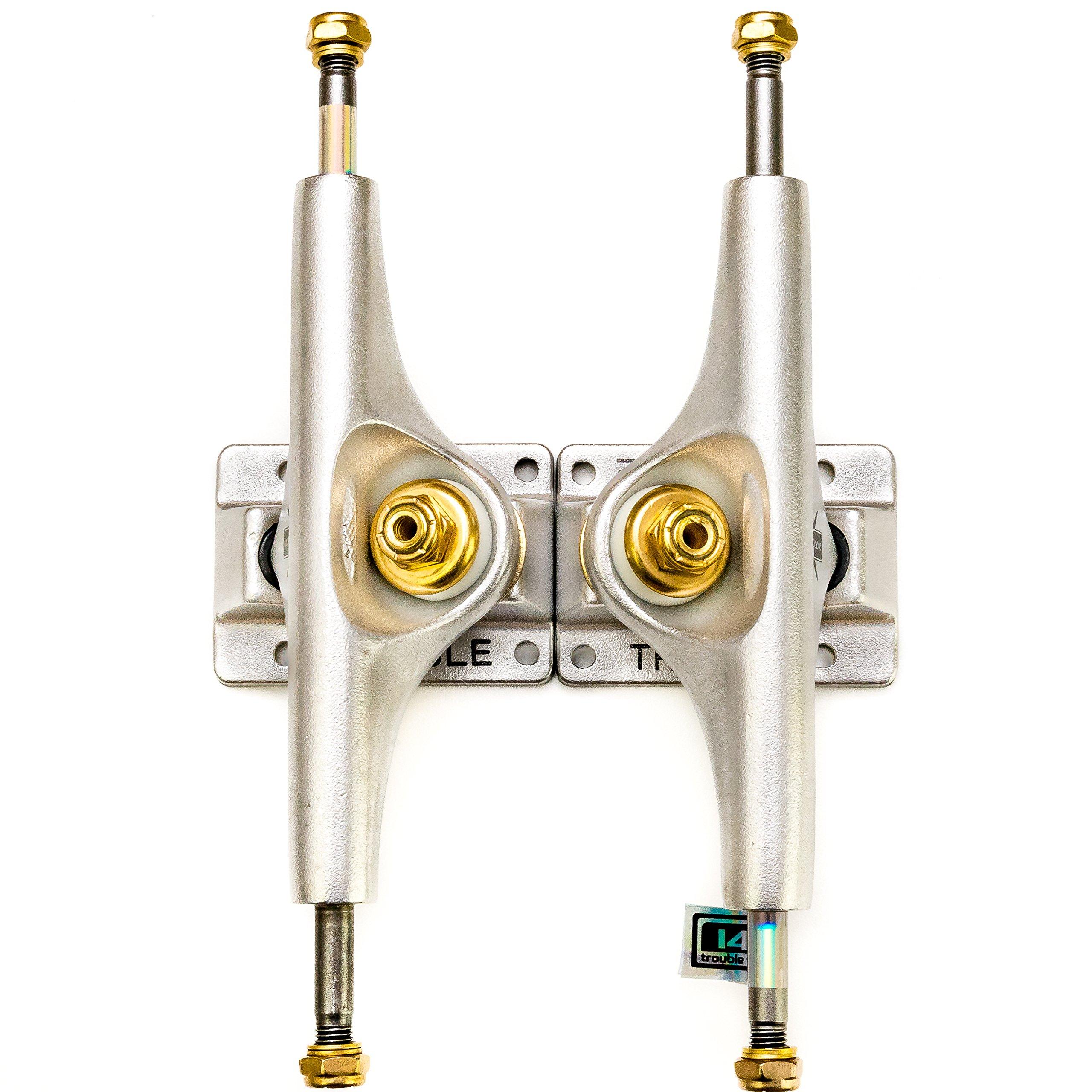"Trouble Trucks Skateboard Truck Hollow Light 156mm Hanger 8.75/"" Axle T4 Matte Gold Silver Set of 2"