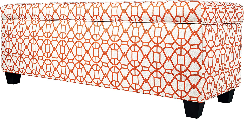 MJL Furniture Designs Sole Secret Duo Fabric Storage Bench, Sunset Orange