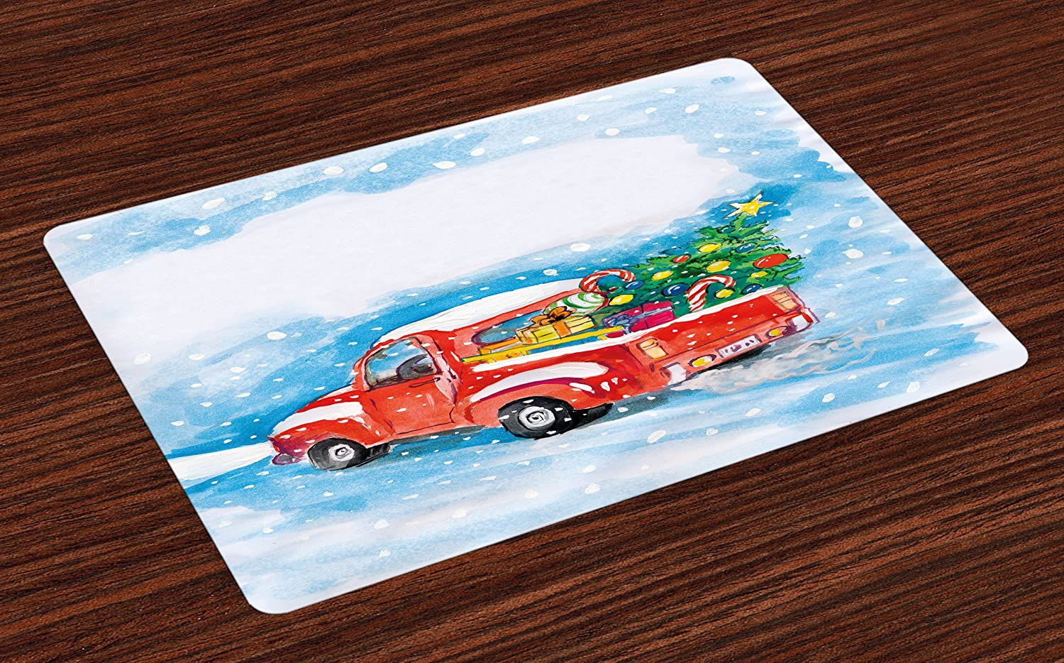 Ambesonne Christmas Place Mats Set of 4, Vintage Red Truck in Snowy Winter Scene with Tree and Gifts Candy Cane Kids, Washable Fabric Placemats for Dining Room Kitchen Table Decor, Blue White Red