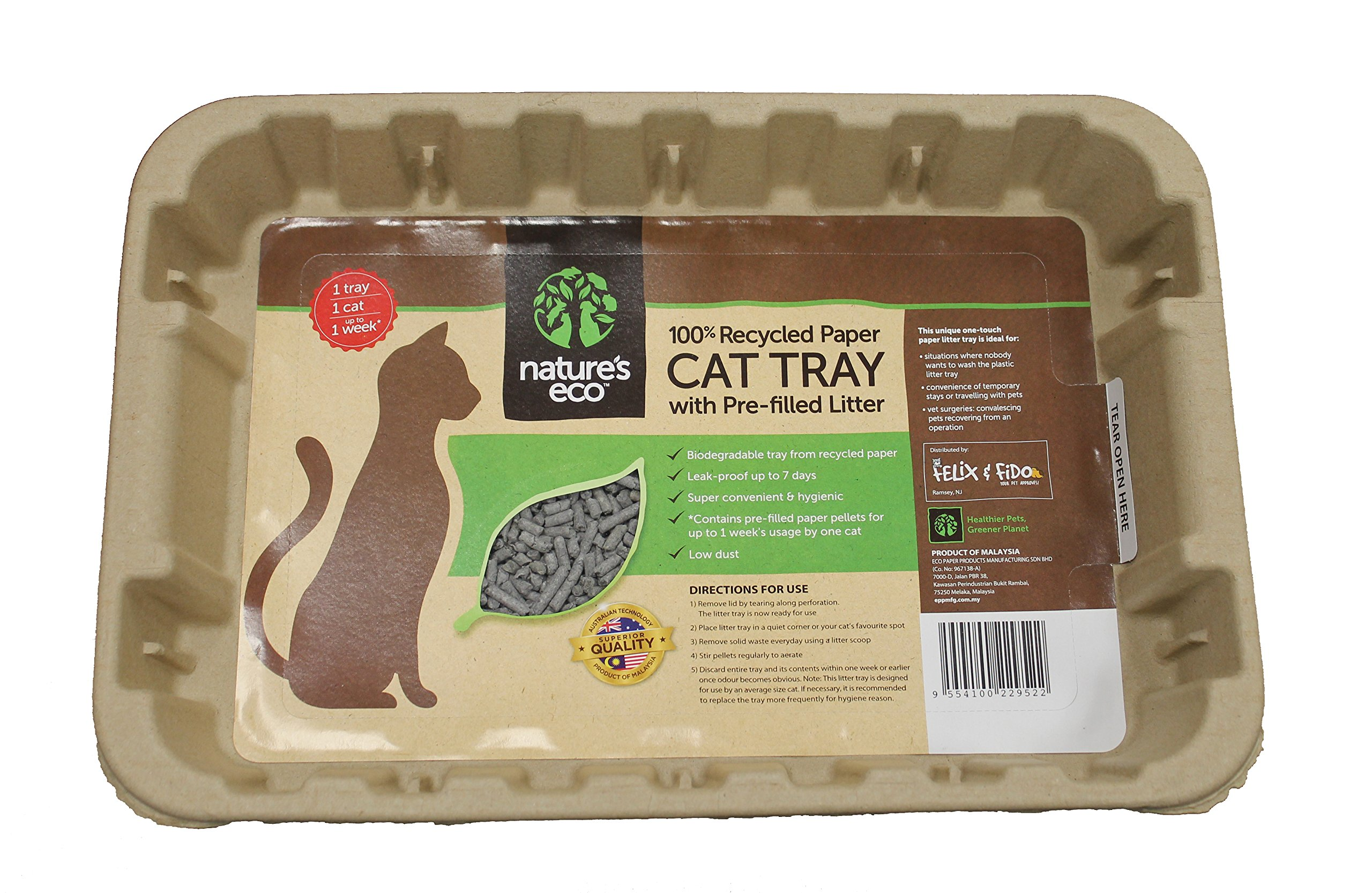 Disposable Cat Litter Boxes, Pre-Filled with 100% Recycled Paper Litter Pellets- 5 Pack of Trays- Includes Litter. Eco Friendly! Simply Peel Off Perforated Lid, Use, Dispose of Entire Tray! by Felix & Fido