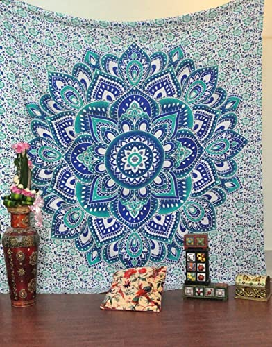 Bless International Indian Bohemian Psychedelic Floral Ombre Queen-Size-Large-Mandala Tapestry-hippie-84×90 Blue Green
