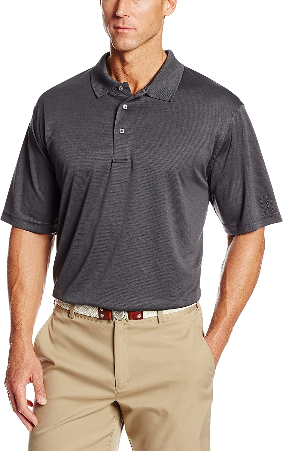 PGA TOUR Mens Airflux Short Sleeve Solid Polo-Shirts