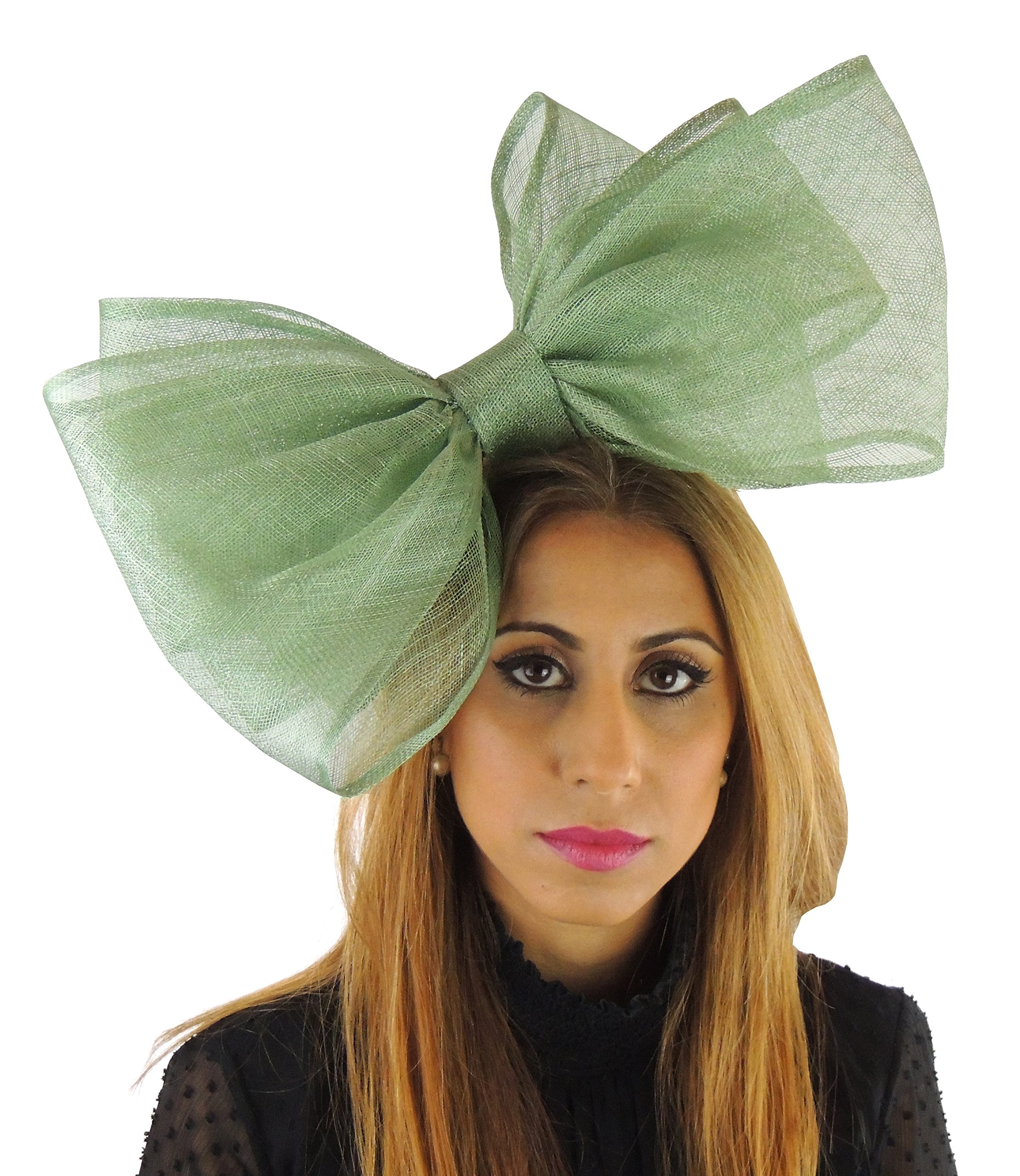 Hats By Cressida Ladies Sinamay Bow Ascot Fascinator Hat With Headband Moss Green by Hats By Cressida