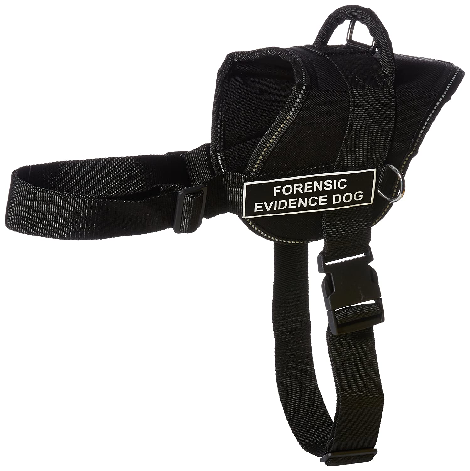 Dean & Tyler Fun Works Forensic Evidence Dog Harness, X-Large, Fits Girth Size  34-Inch to 47-Inch, Black with Reflective Trim
