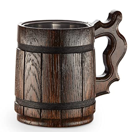 Wooden Beer Mug Handmade Oak Tankard Amazing Craftsmanship And Quality Materials Lined With Metal Large And Heavy Duty Sturdy Long Lasting