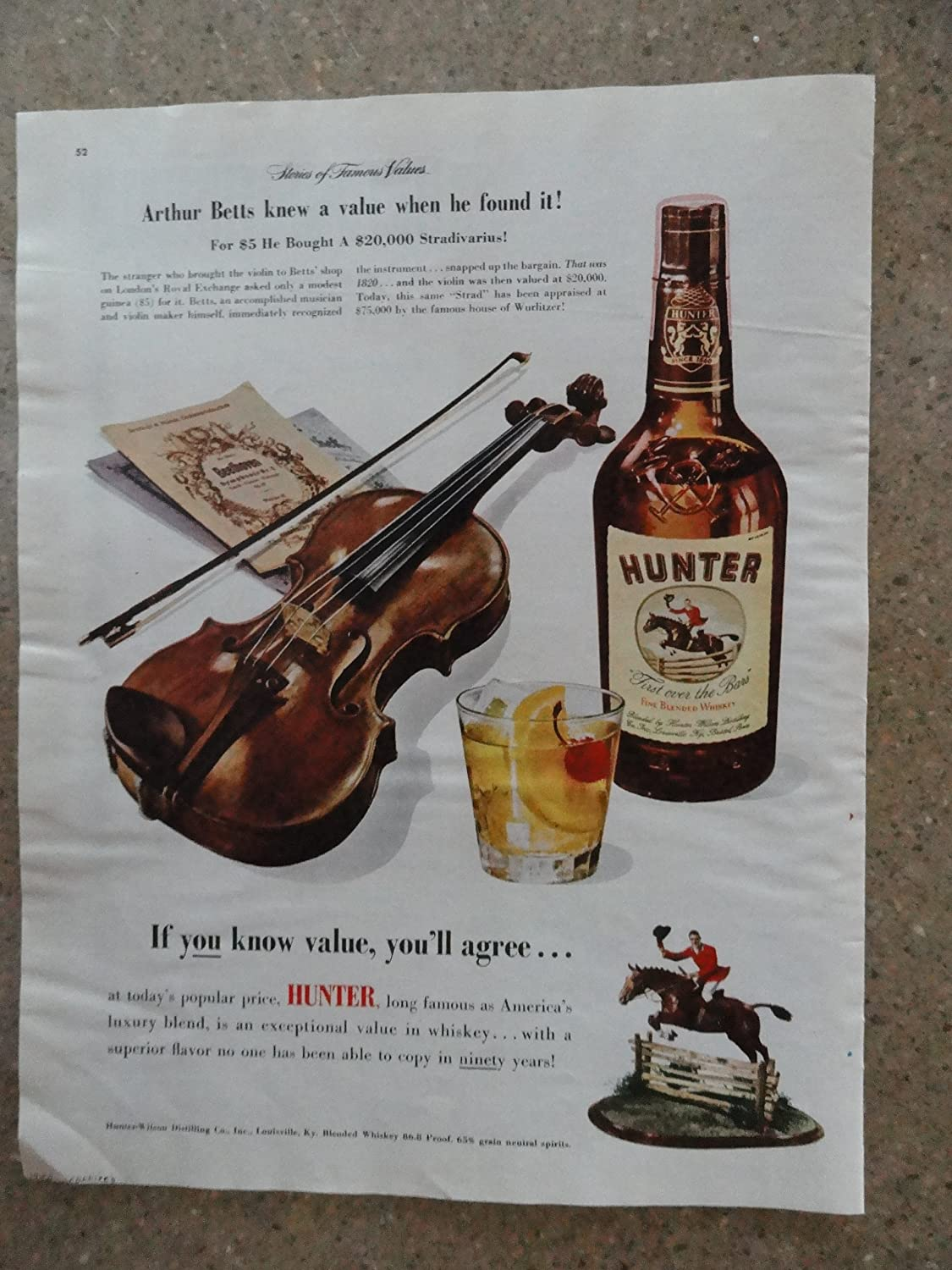 1940-49 Original Print Ad 1950 Hunter Blended Whiskey If You Know Value Collectibles
