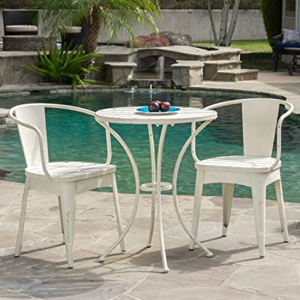 Christopher Knight Home Castro Outdoor 3 Piece Off White Cast Bistro Set