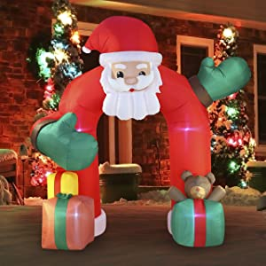 Joiedomi Christmas Inflatable Santa Claus 11 FT with Gift Boxes Archway with Build-in LEDs Blow Up Inflatables for Christmas Party Indoor, Outdoor, Yard, Garden, Lawn Décor Decorations