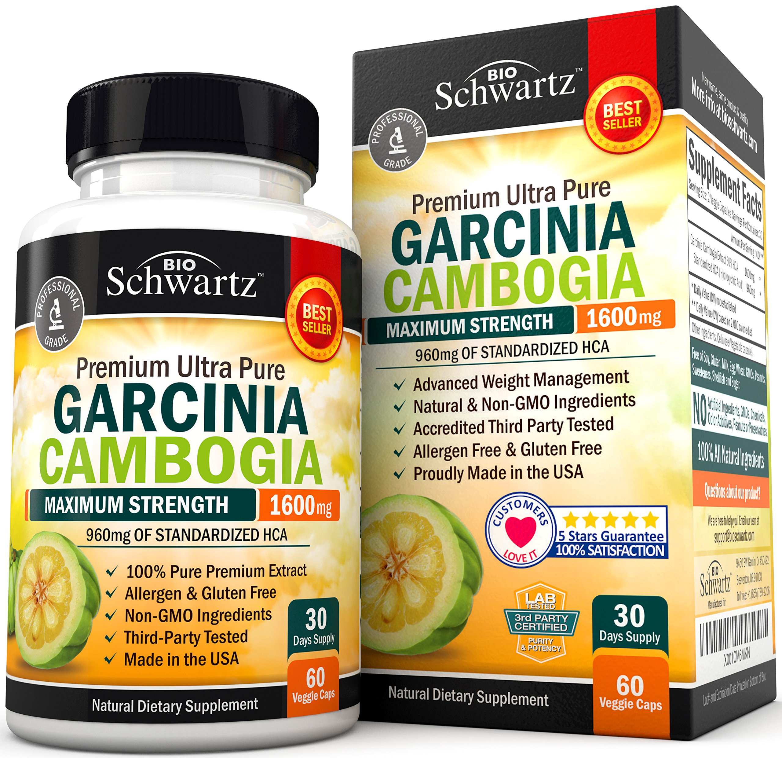 Garcinia Cambogia Pure Extract 1600mg with 960mg HCA. Fast Weight Loss & Fat Metabolism. Best Appetite Suppressant, Extreme Carb Blocker & Fat Burner for Women & Men. Garcinia Cambogia Premium Pills by BioSchwartz
