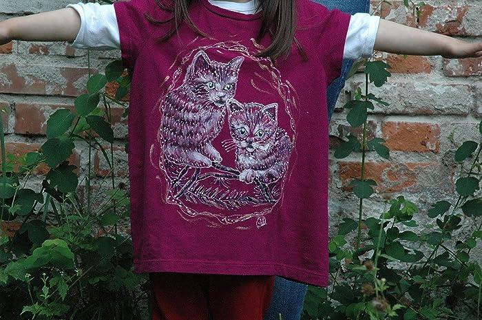0c7cd1c2e9028 Amazon.com: Sale!!!20% Off,Animal Funny Cats Shirt, Hand Painted ...