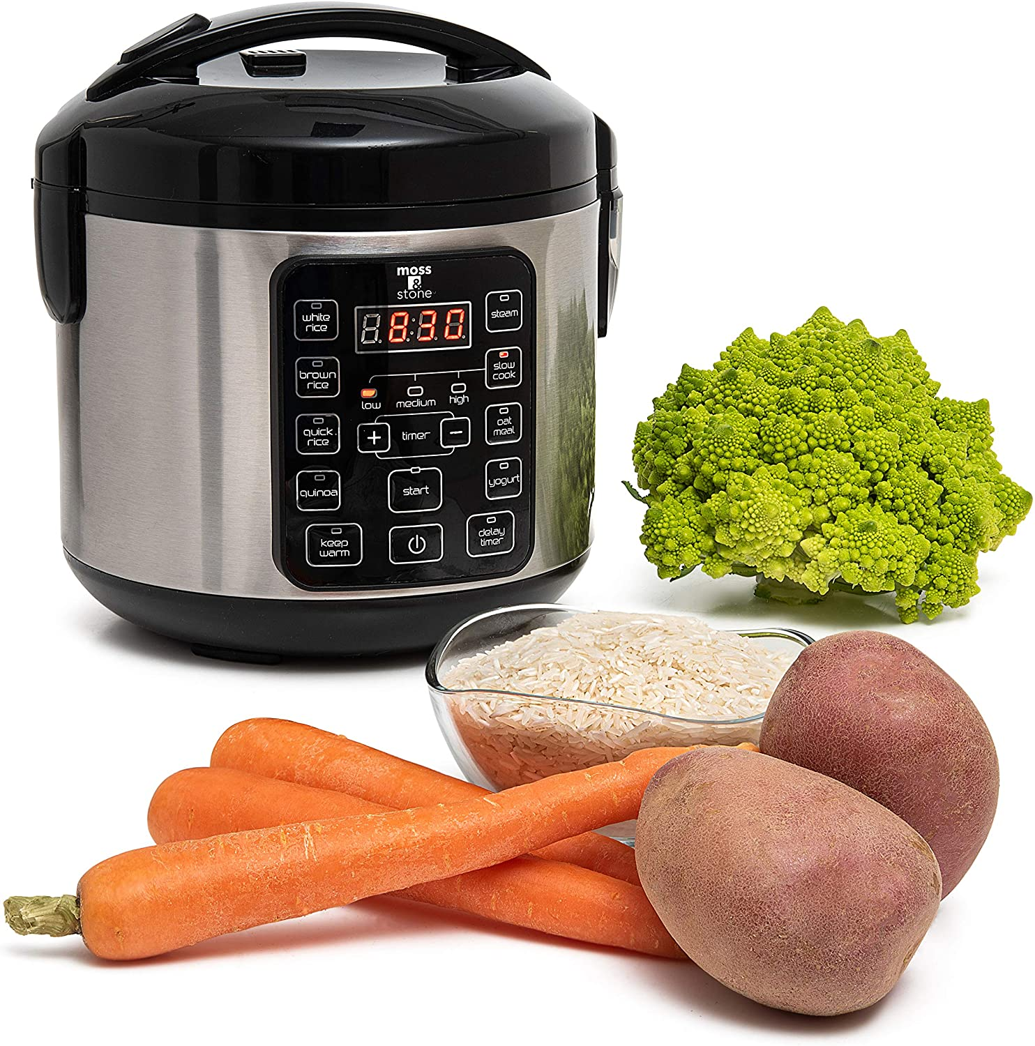 Electric Multicooker Digital Rice Cooker 4-8 Cup/Brown And White Rice/Food Steamer/Slow Cooker By Moss & Stone.
