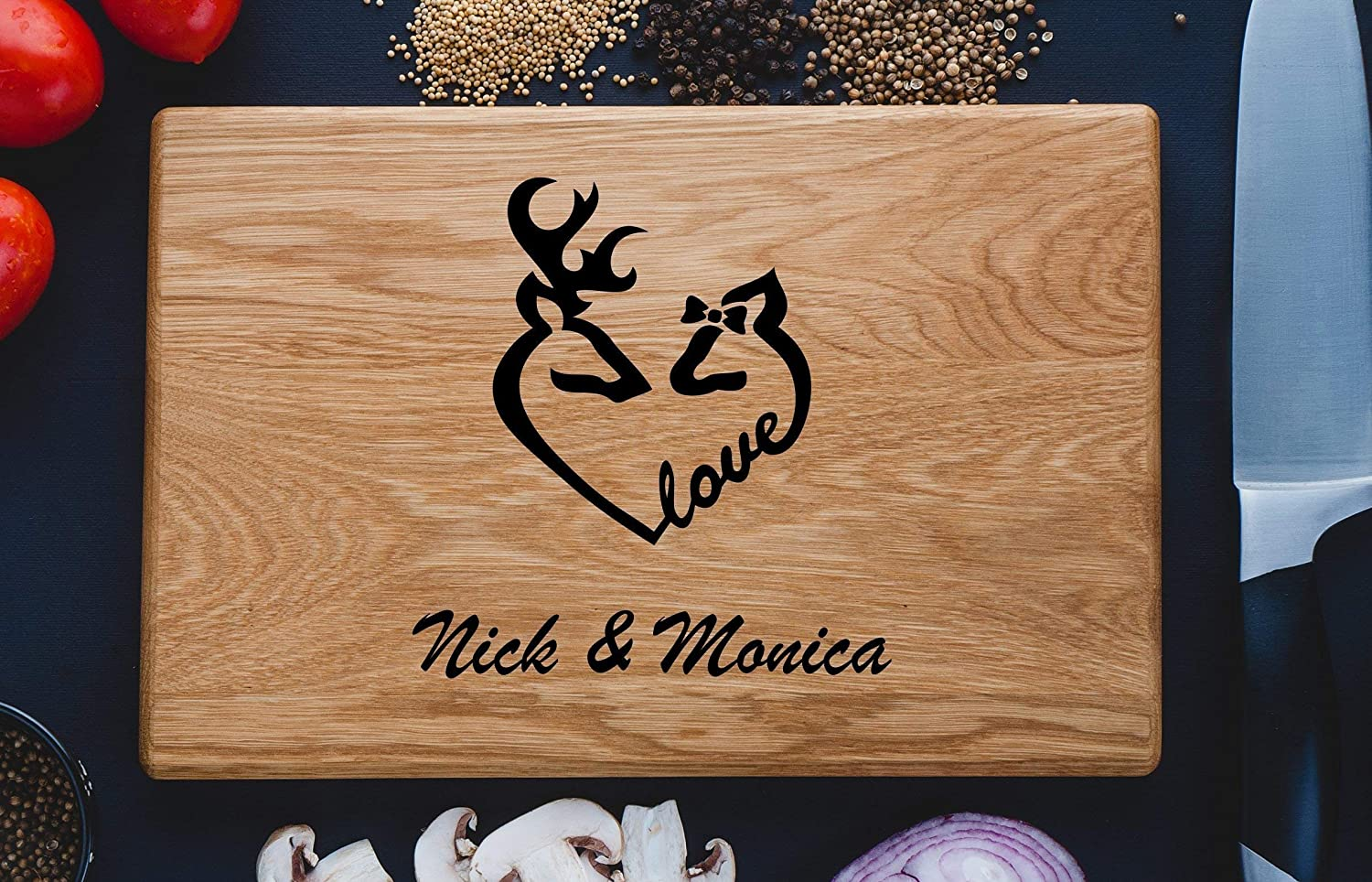 Deers Love Couple Personalized Engraved Cutting Board Wedding Gift Anniversary Gifts Housewarming Birthday Corporate Christmas Bride Shower Family custom02