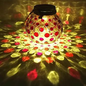 Solar Jar Lids Light,Hanging Glass Lights Outdoor Sogrand Red Dotted Copper  Lid Lantern Decorative
