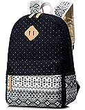 School Bookbag for Girls, Waterproof Cartoon Snowscape Patterns Printed Laptop backpack Travel Daypack Dark Blue