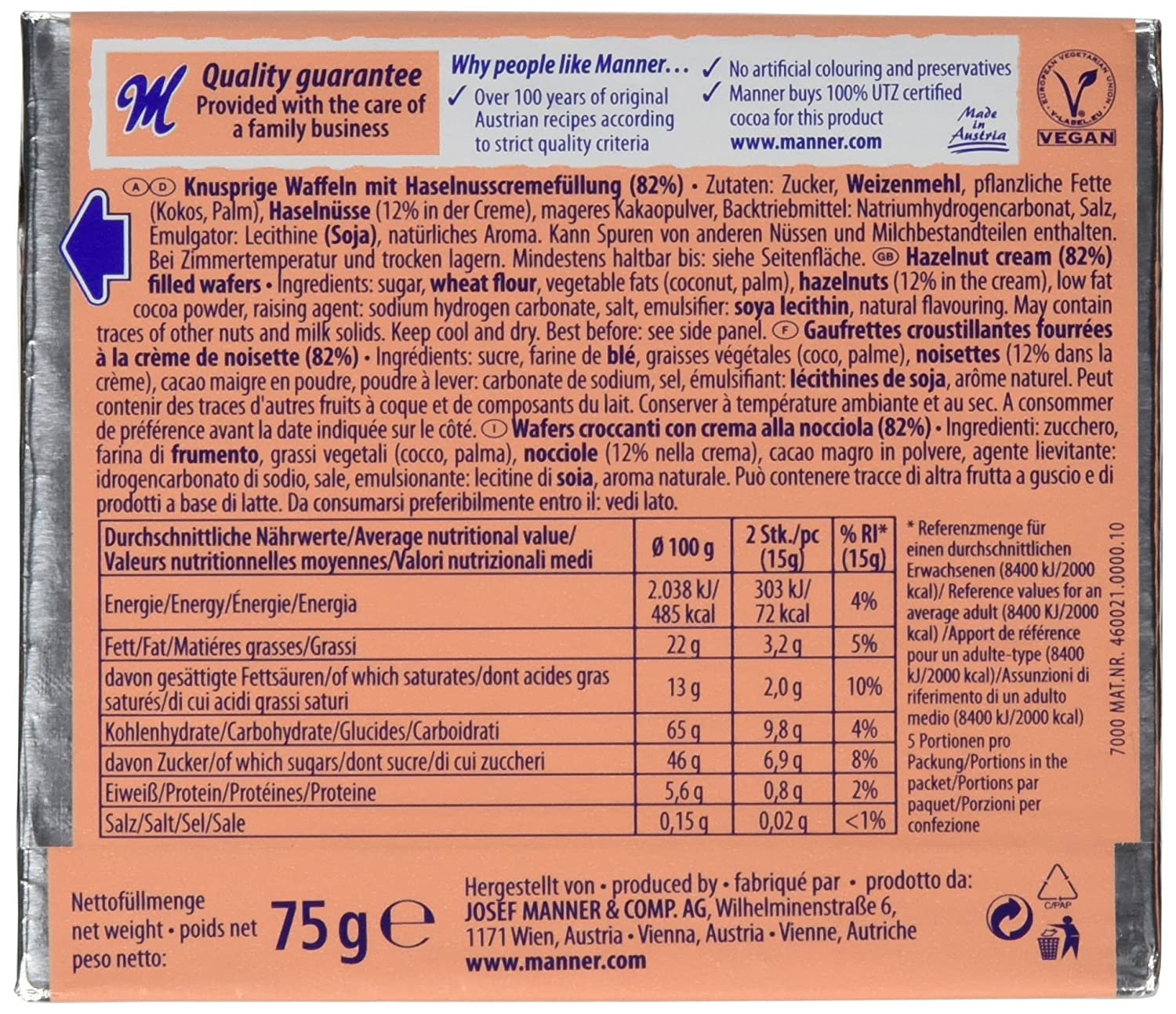 Manner Original Neapolitaner Wafers 75 g (Pack of 12): Amazon.es: Electrónica