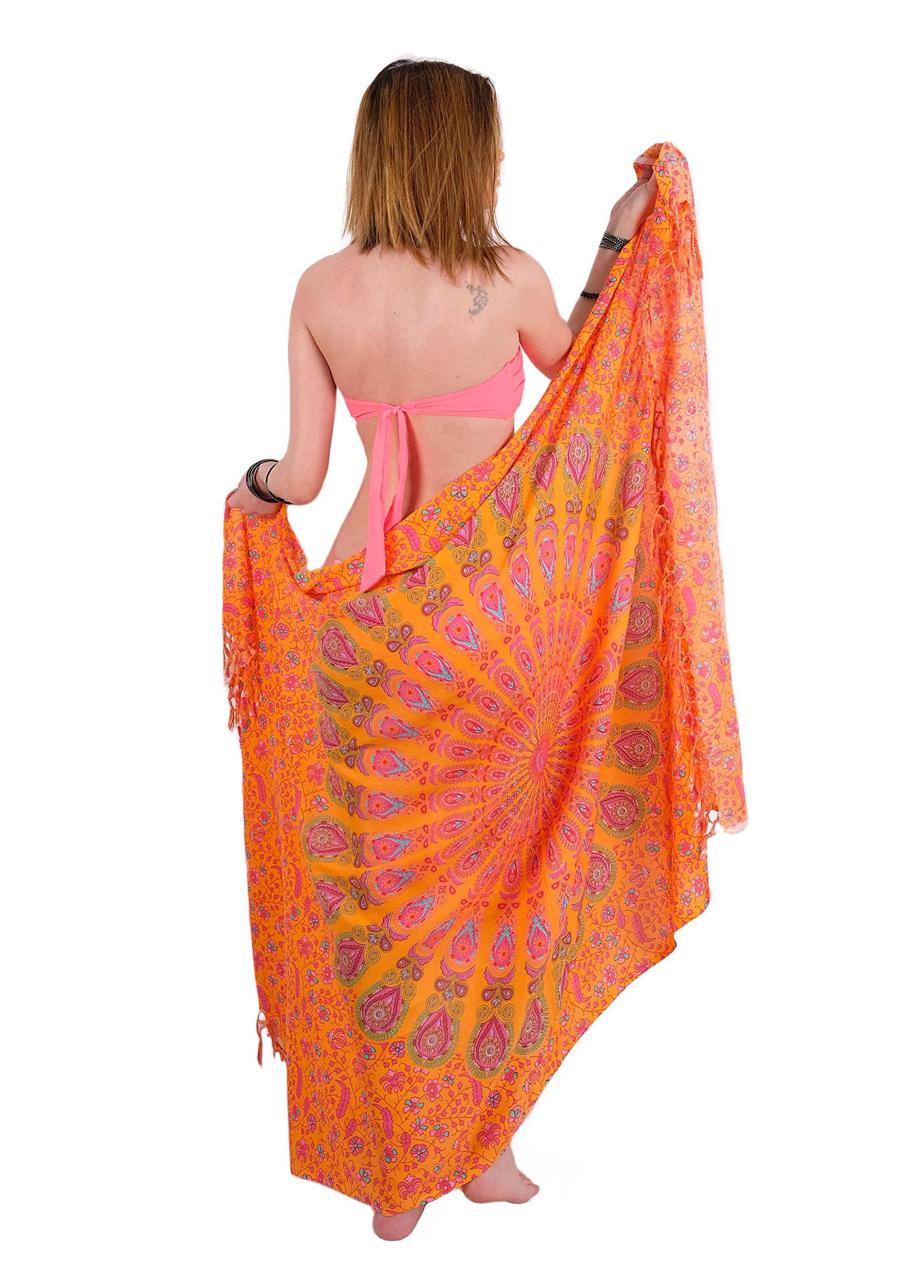 Boho Chic Sarong Gorgeous Hand-Printed Bohemian Pareo Endlessly Versatile Uses Bikini Swimsuit Cover Up,Beach Blanket,Tapestry,Dress,Wall Hanging,Throw by Mandala Life ART,Blue Peacock,Large