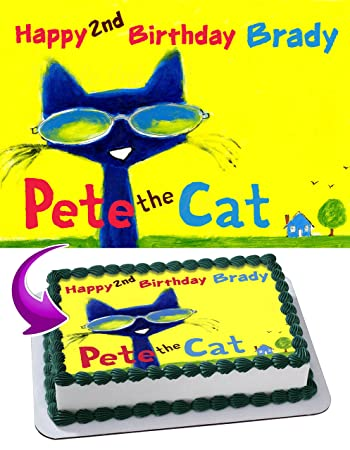 Pete The Cat Edible Image Cake Topper Personalized Icing Sugar Paper A4 Sheet Frosting Photo