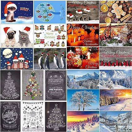24 tarjetas de Navidad: 24 diseños diferentes: una colorida ...