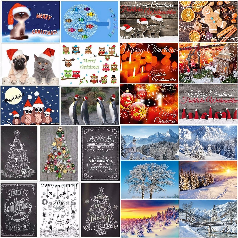 24 tarjetas de Navidad: 24 diseños diferentes: una colorida combinación de tarjetas nostálgicas, paisajes de invierno y divertidas postales de Navidad ...