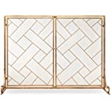 Best Choice Products 44x33in 2-Panel Handcrafted Wrought Iron Decorative Mesh Geometric Fireplace Screen, Fire Spark Guard w/