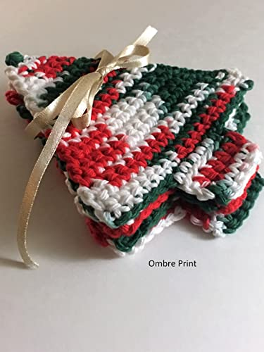 Amazoncom Holly Jolly Christmas Tree Crochet Coasters Handmade