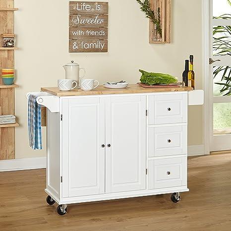 Kitchen Islands on Wheels Drop Leaf Utility Cart Mobile Breakfast Bar With  Storage Drawers Towel and Spice Rack Bundle includes Bonus Kitchen ...