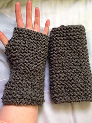 Chunky Grey Hand Knitted Finger Free Gloves Wrist Warmers Amazon