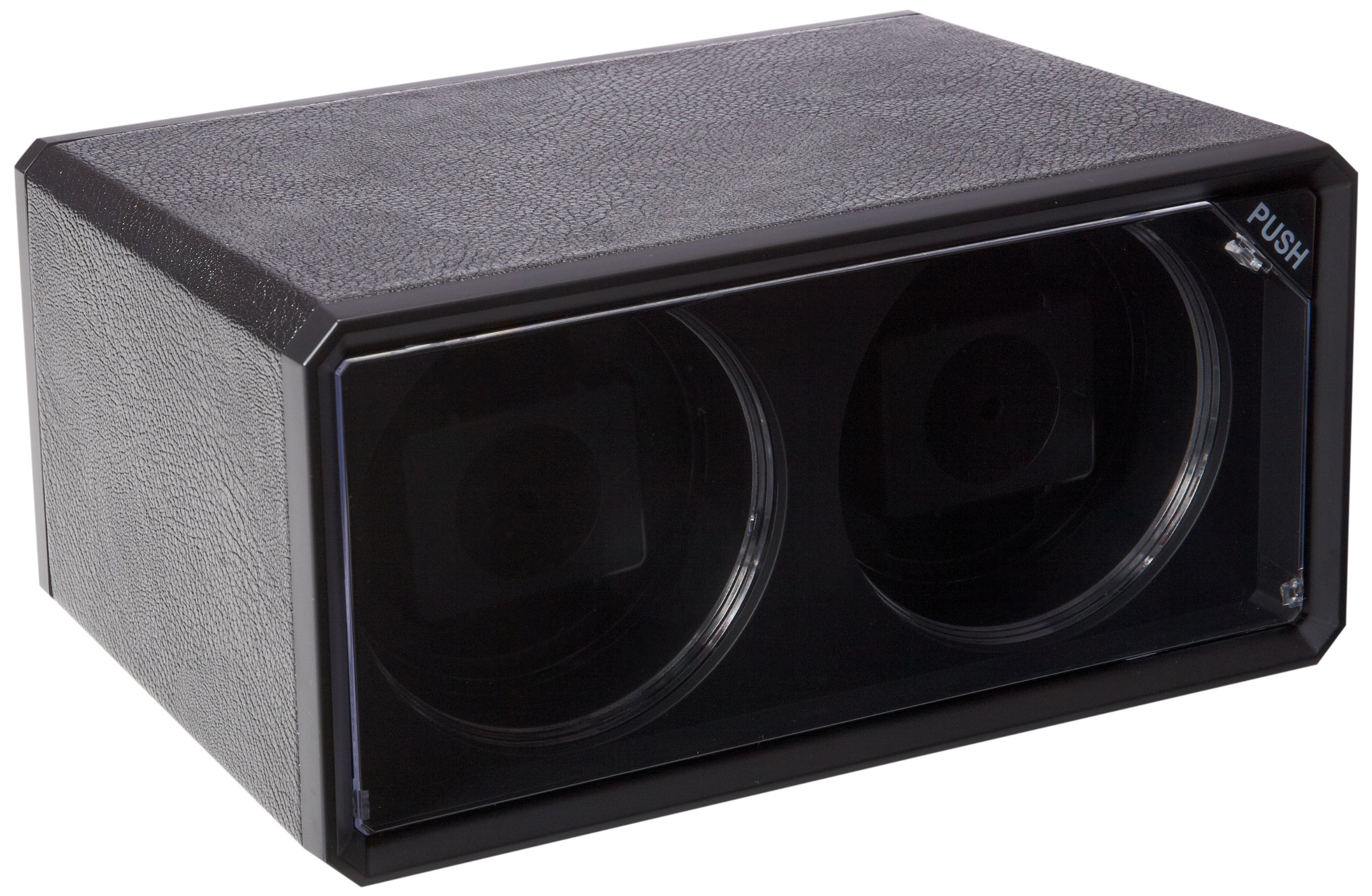Diplomat Double Black Leatherette Watch Winder with Blue LED's
