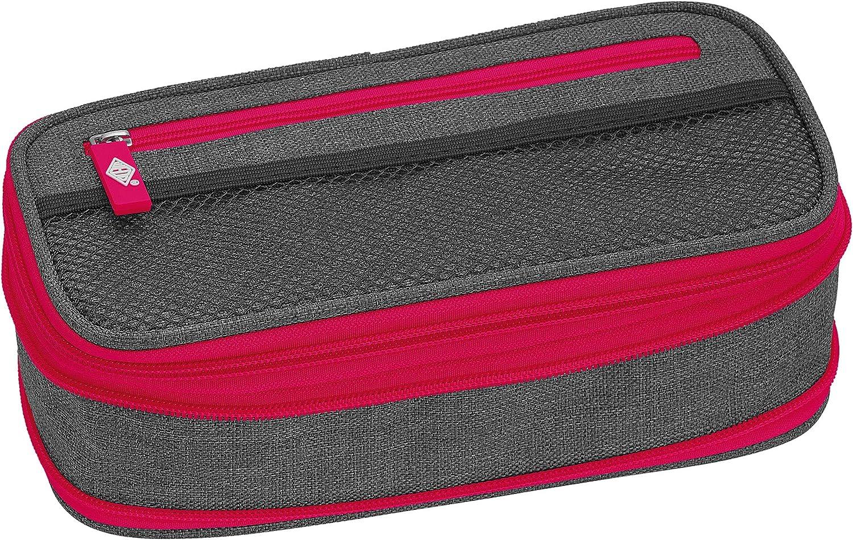 WEDO 24244009 NEON Stretch - Estuche (ampliable, varios compartimentos, portabolígrafos, incluye horario), color gris y rosa: Amazon.es: Oficina y papelería