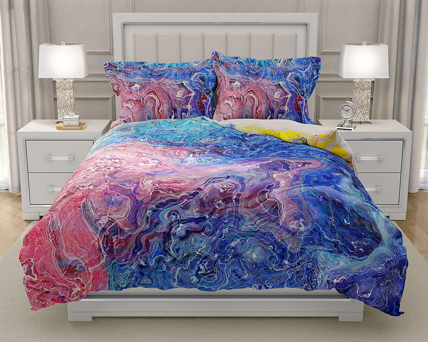 Image of King or Queen 3 pc Duvet Cover Set with abstract art, Floral Dream