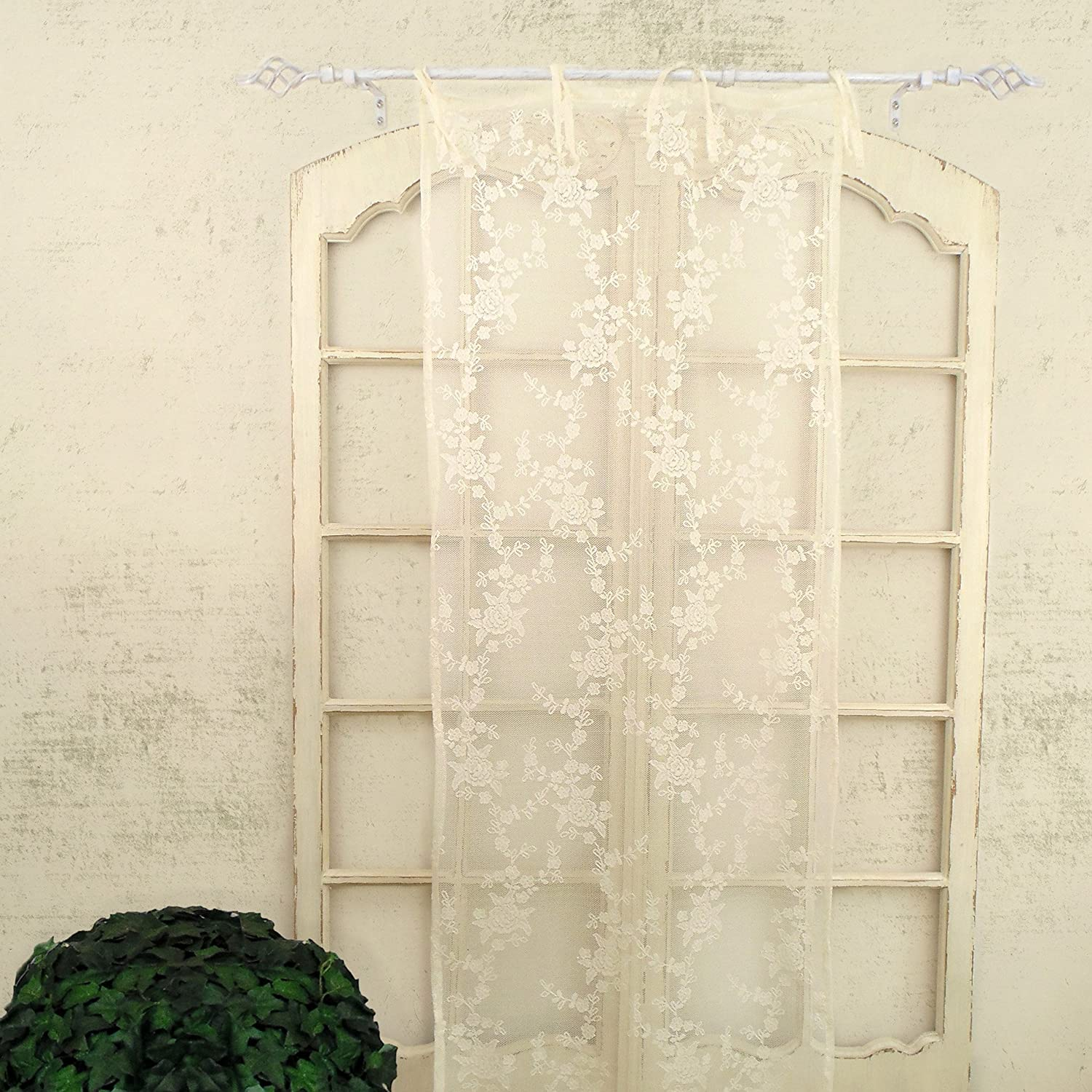 Tenda Finestra Pizzo Poliestere Shabby Chic Poly-Ciel Collection 60 x 220 Colore Avorio AT17