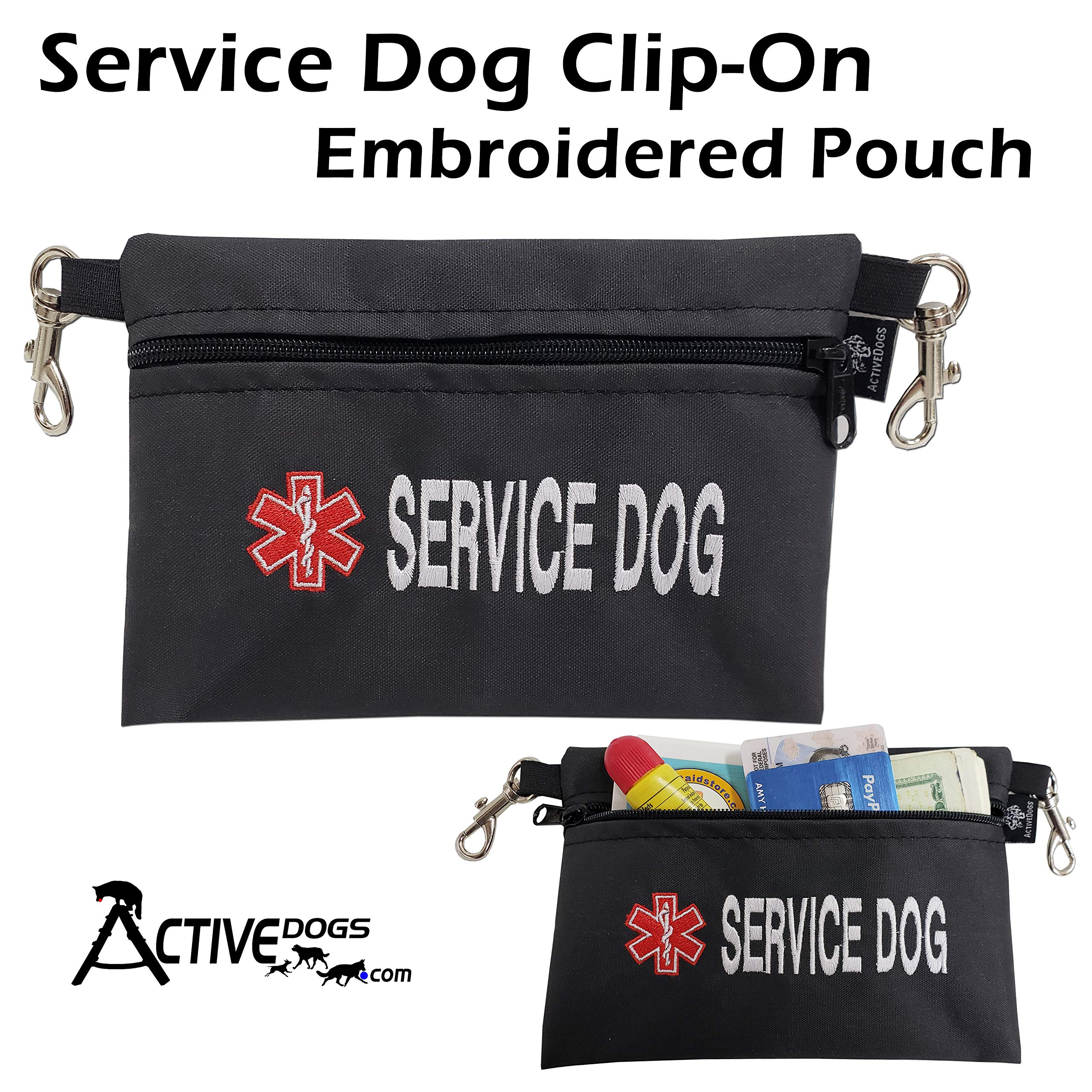 Activedogs Service Dog Clip-On Embroidered Pouch