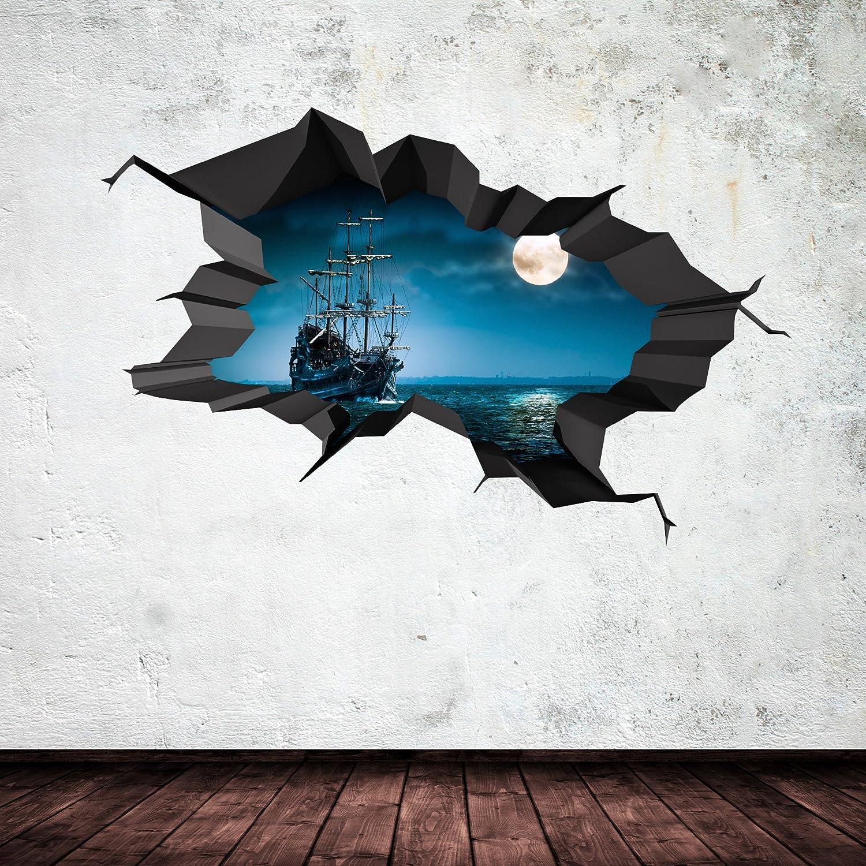 pirate ship sea cave porthole moon cracked 3d wall art sticker boys