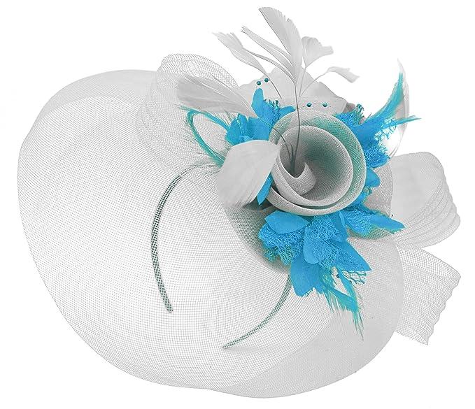 31f6216ac2ce1 Feather Flower Fascinator Hat Veil Net Headband Clip Ascot Derby Races  Wedding (Silver and Aqua)  Amazon.co.uk  Clothing