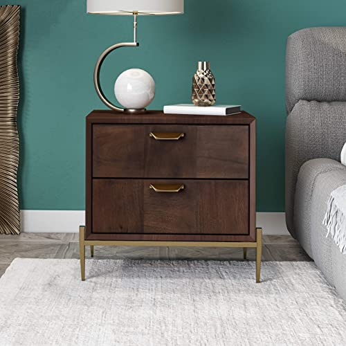 Limari Home Woodward Collection Modern Style Bedroom Veneer Finished Acacia Brass Nightstand
