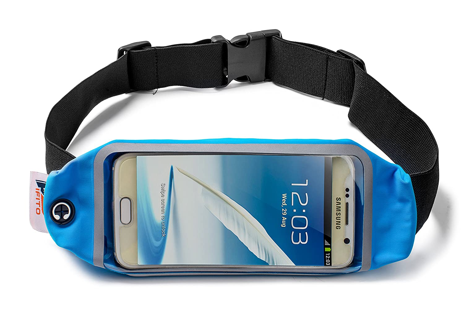 Pifito Running Belt TM – Touchscreen Window Fits All Phones Blue, 5.5 in. Touchscreen Window
