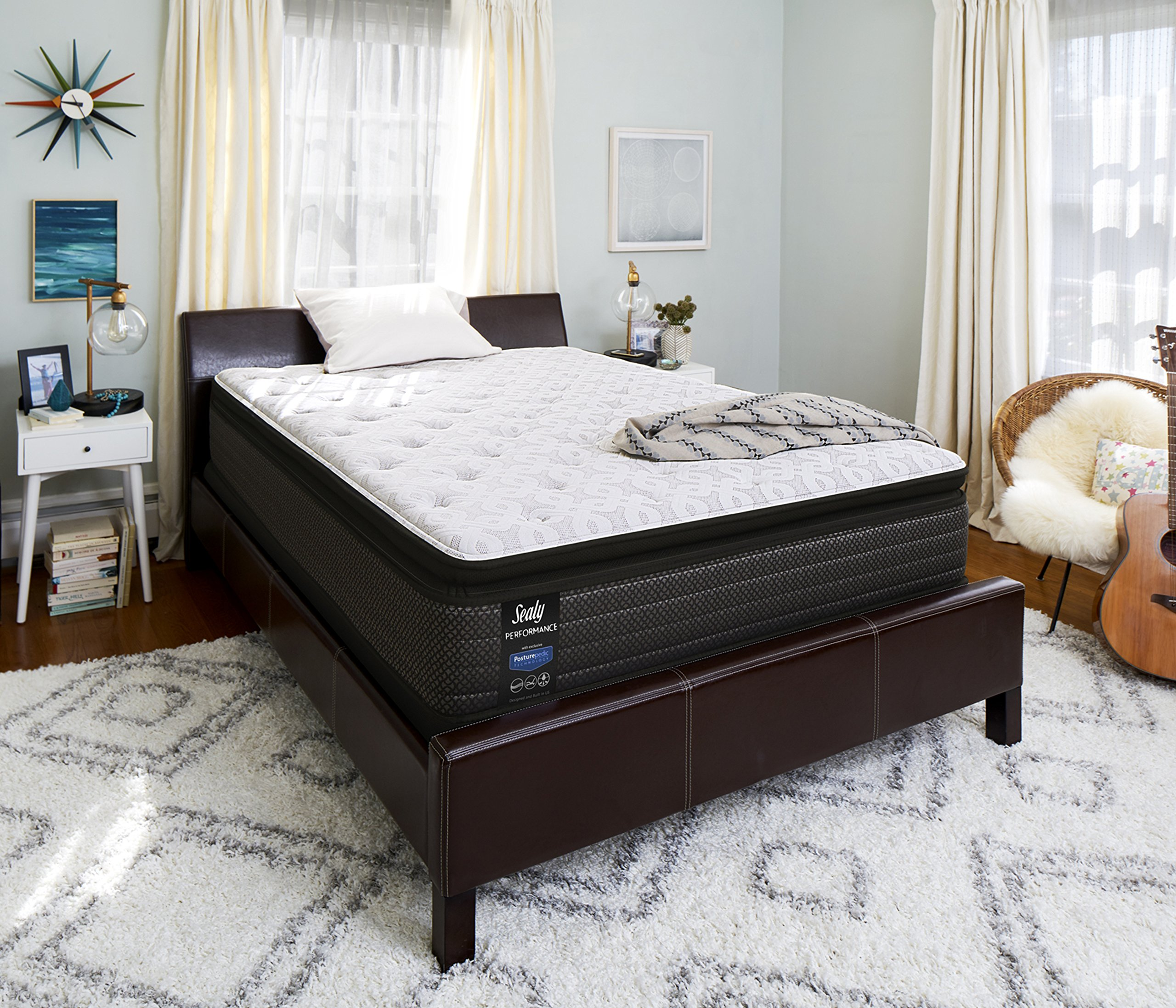 Sealy Response Performance 14-Inch Cushion Firm Euro Pillow Top Mattress, Queen, Made in USA,  10 Year Warranty by Sealy