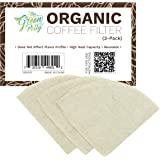 The Green Polly Organic Hemp Cloth Coffee Filter Cone No. 4, 3-Pack, Reusable | Zero-Waste and Eco-Friendly | Anti-Microbial | All-natural Hemp Cotton Cloth Coffee Filters