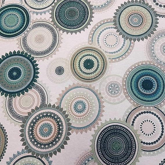 Tela de Tela Werthers por Metros, con Revestimiento de algodón Mandala Verde petróleo Beige Mantel Lavable: Amazon.es: Hogar