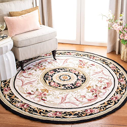 Safavieh Chelsea Collection HK72B Hand-Hooked Ivory and Black Premium Wool Round Area Rug 3 Diameter