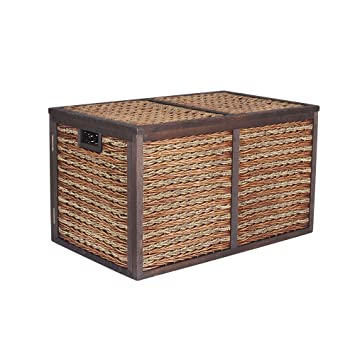 Superior Household Essentials Seagrass Poplar Wicker Storage Chest, Large, Dark Brown