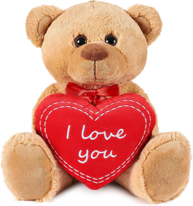 """BRUBAKER Orsacchiotto orso di peluche con scritta""""I Love You"""" su un cuore di peluche – 35 cm di altezza"""