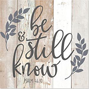 MRC Wood Products Be Still and Know That I Am God Farmhouse Style Wall Sign 12x12