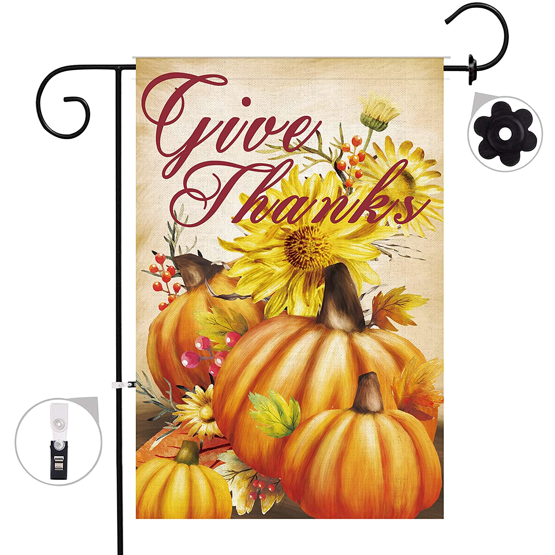 Hexagram Thanksgiving Garden Flag 12 x 18 Prime Burlap Pumpkin Decorations Outdoor Fall Decor