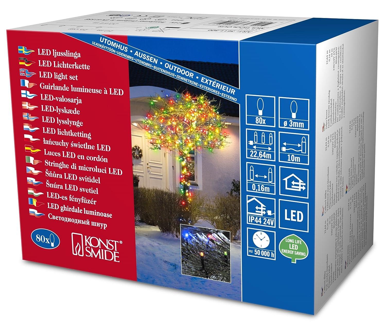 Konstsmide 3610-200 / Catena di luci micro LED / 40 diodi bianco freddi / 24V trasformatore da esterno/cavo nero KONST3610-200EE