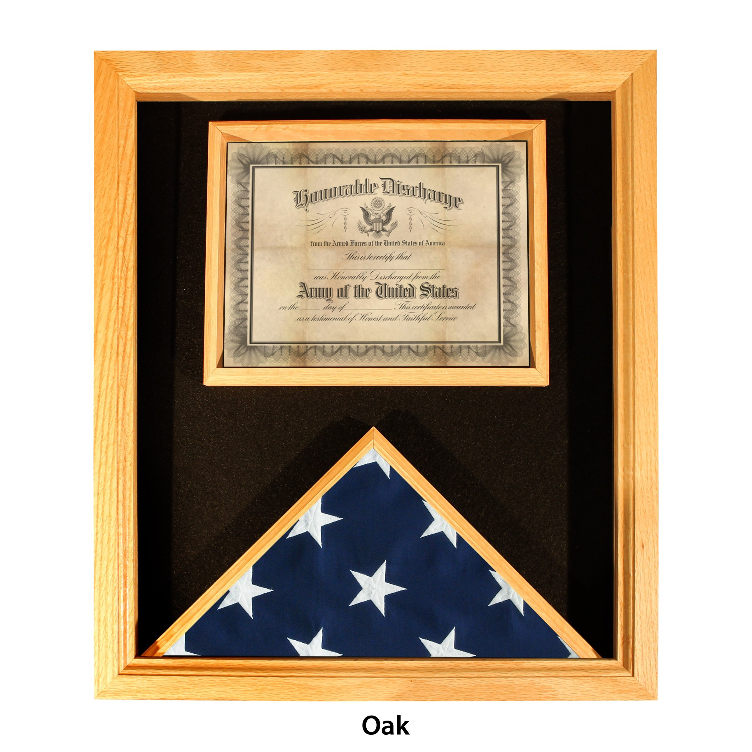 Premium USA-Made Solid Oak Flag And Document Case - For 3ft x 5ft Flags