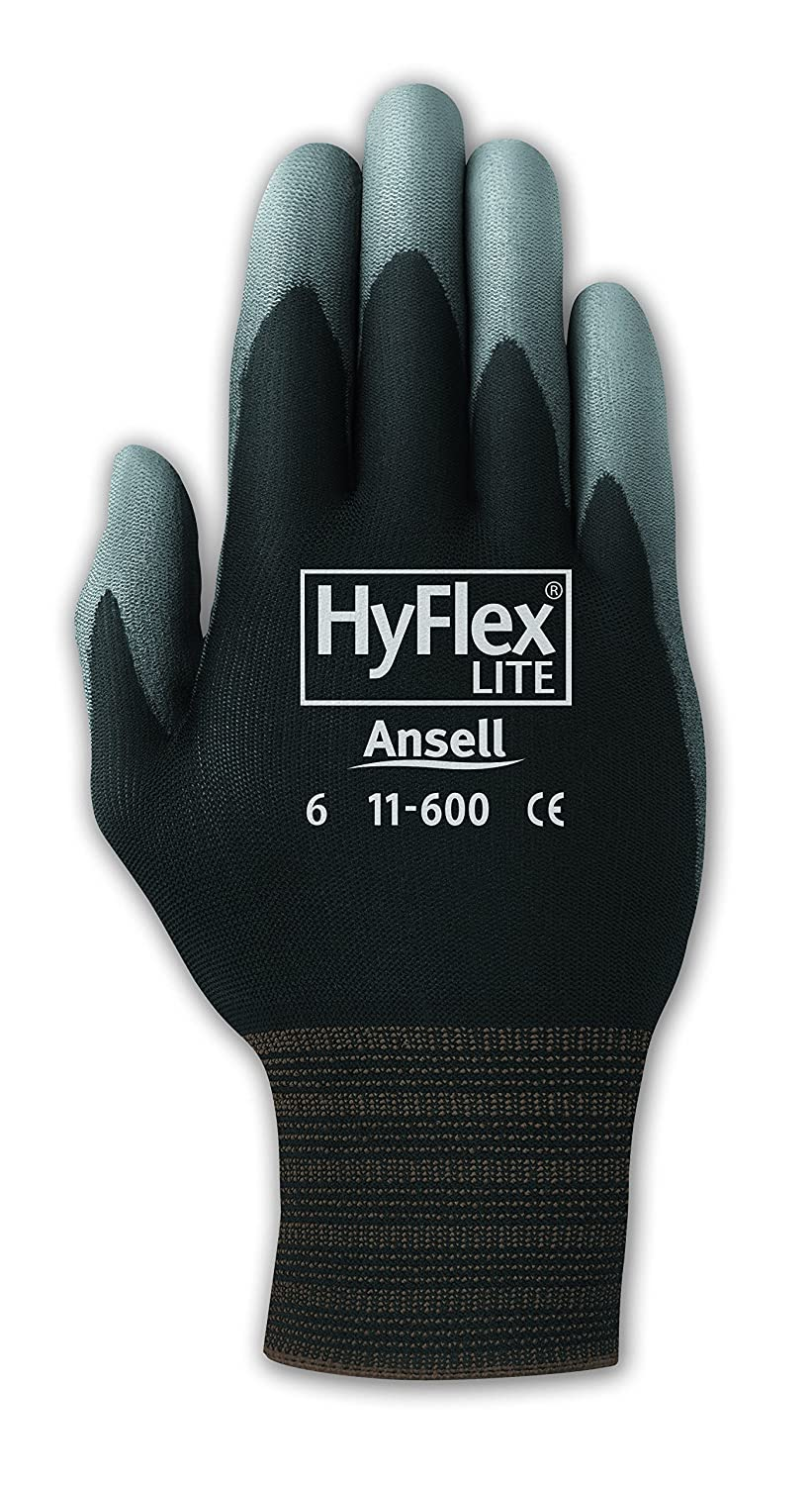 Black Ansell 103362 HyFlex PU Coated Knit Lined Assembly Glove 9 Pack of 12