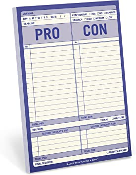 Knock Knock Pro Con Checklist Note Pad 6 x 9-inches
