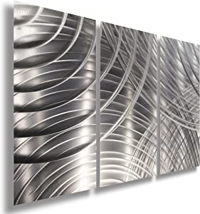 Statements2000 Silver 3 Piece Modern Metal Wall Sculpture - Abstract Home & Office Decor - Contemporary Metal Wall Art - Equinox 2 3P by Jon Allen