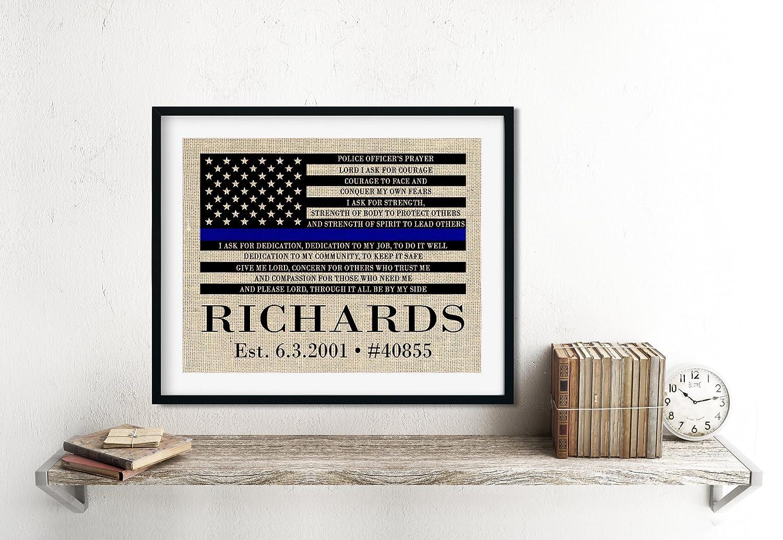 Amazon.com: Police Officer Prayer Wall Decor, Burlap Print, Choose ...